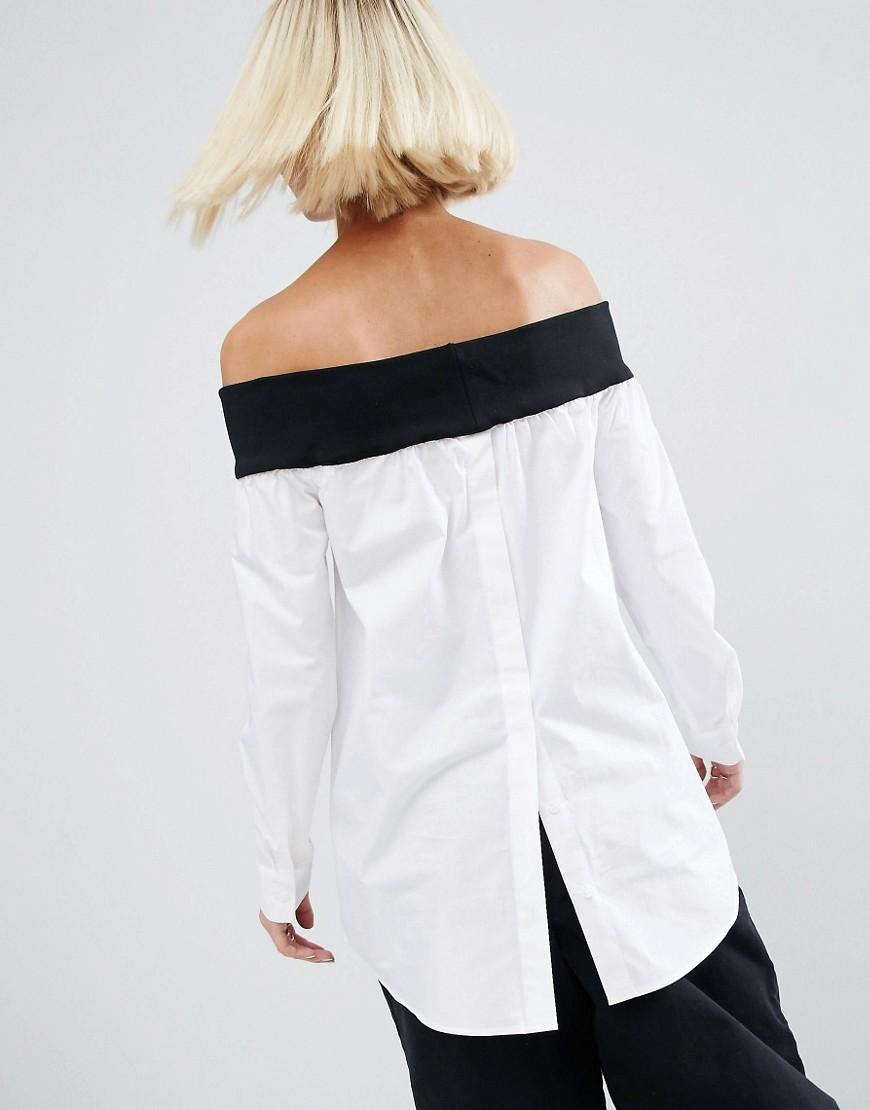 Off The Shoulder Top With Contrast Rib And Button Down Back White/Black - neckline: off the shoulder; length: below the bottom; predominant colour: white; secondary colour: black; occasions: casual, creative work; style: top; fibres: cotton - 100%; fit: loose; sleeve length: long sleeve; sleeve style: standard; texture group: cotton feel fabrics; pattern type: fabric; pattern size: standard; pattern: colourblock; season: a/w 2016; wardrobe: highlight