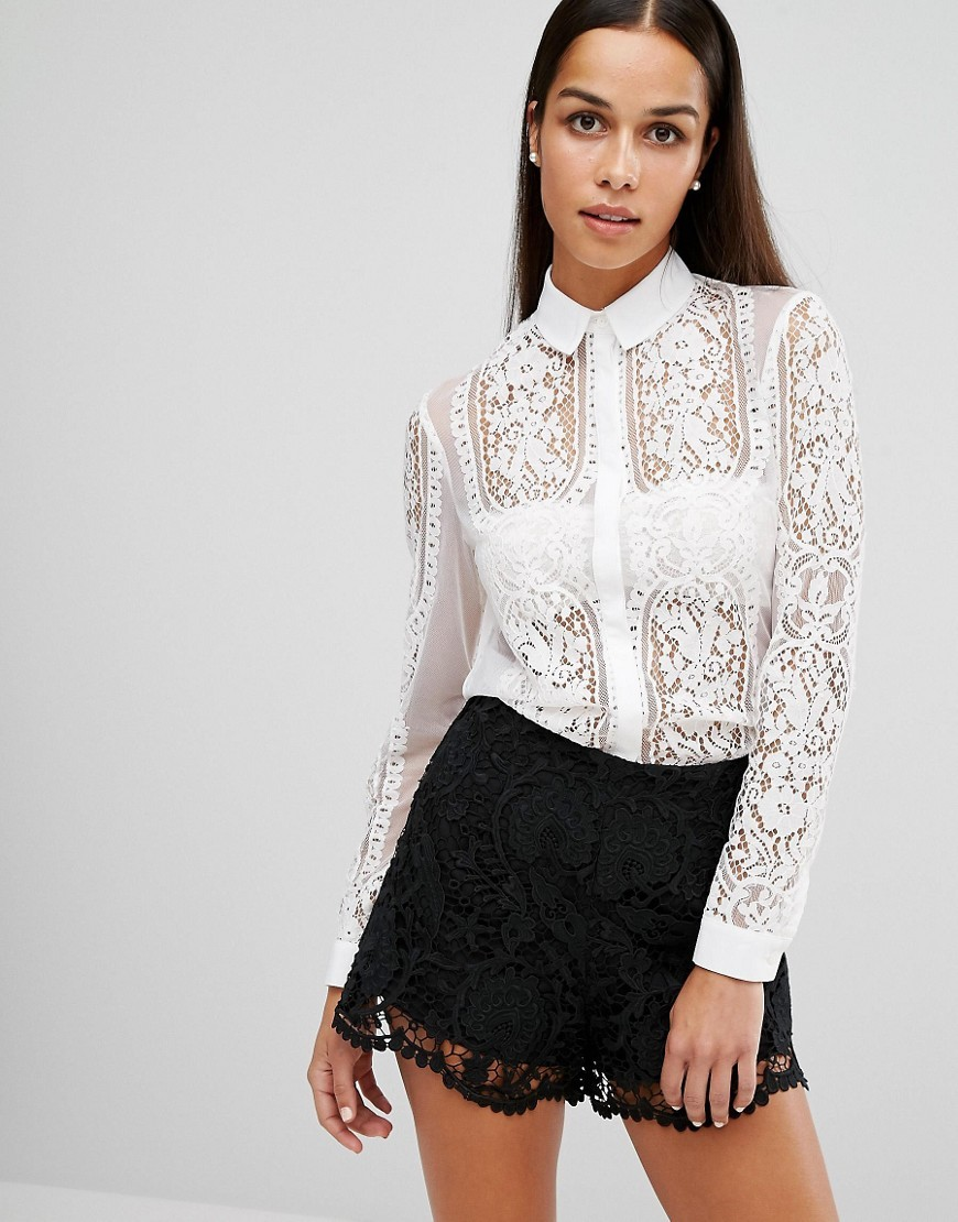 Sheer Lace Shirt White - neckline: shirt collar/peter pan/zip with opening; pattern: plain; style: shirt; predominant colour: white; occasions: evening; length: standard; fibres: cotton - mix; fit: body skimming; sleeve length: long sleeve; sleeve style: standard; texture group: lace; pattern type: fabric; season: a/w 2016; wardrobe: event