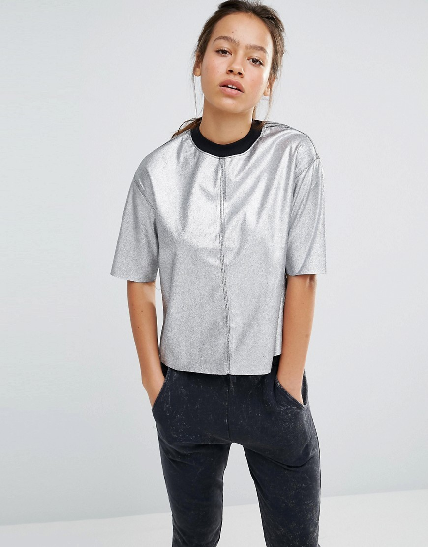 Silver Metallic T Shirt Silver - pattern: plain; neckline: high neck; style: t-shirt; predominant colour: silver; occasions: casual; length: standard; fibres: polyester/polyamide - 100%; fit: body skimming; sleeve length: half sleeve; sleeve style: standard; pattern type: fabric; texture group: jersey - stretchy/drapey; season: a/w 2016; wardrobe: highlight
