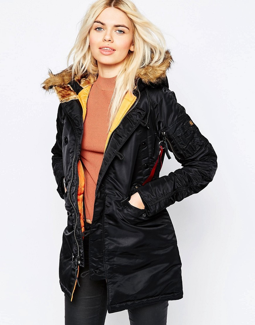 Alpha Industried N3 B Parka With Faux Fur Hood And Contrast Lining Black - pattern: plain; length: below the bottom; collar: funnel; fit: loose; style: parka; back detail: hood; predominant colour: black; occasions: casual; fibres: nylon - 100%; waist detail: belted waist/tie at waist/drawstring; sleeve length: long sleeve; sleeve style: standard; texture group: technical outdoor fabrics; collar break: high; pattern type: fabric; embellishment: fur; season: a/w 2016; wardrobe: highlight