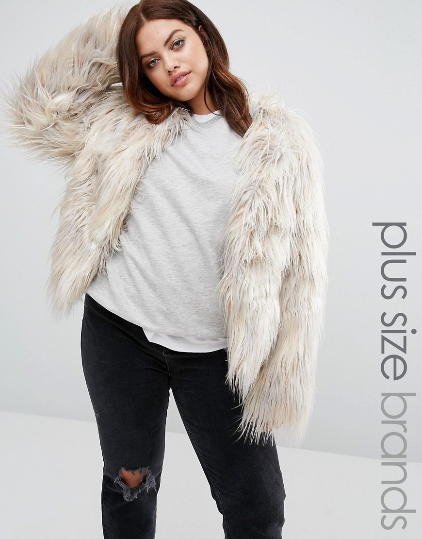 Faux Fur Yeti Coat Grey - pattern: plain; length: standard; collar: round collar/collarless; predominant colour: ivory/cream; occasions: casual, creative work; fit: straight cut (boxy); fibres: acrylic - mix; style: fur coat; sleeve length: long sleeve; sleeve style: standard; texture group: fur; collar break: high; pattern type: fabric; embellishment: fur; season: a/w 2016; wardrobe: highlight; embellishment location: all over