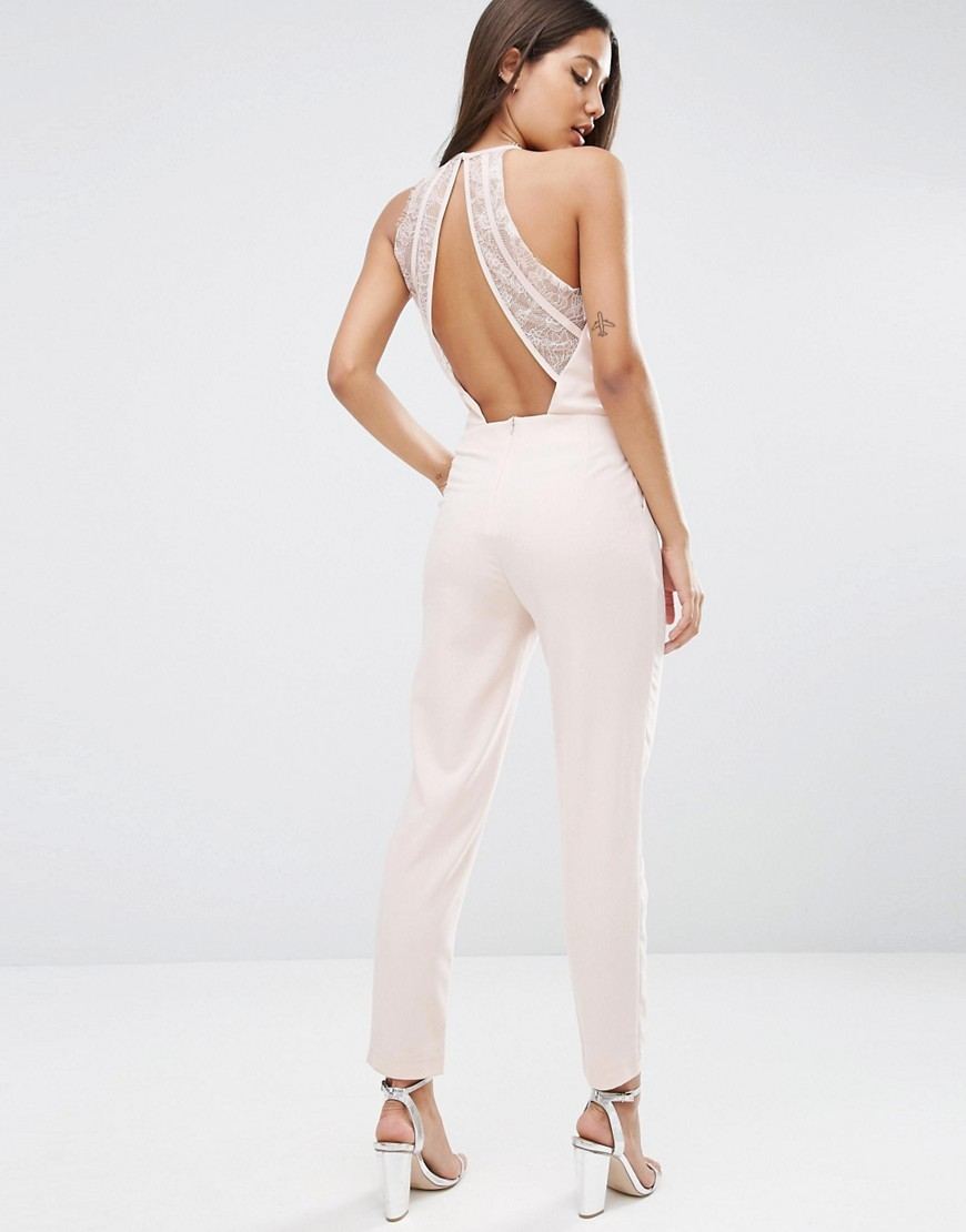 Jumpsuit With Lace Back Detail Dusty Pink - length: standard; fit: tailored/fitted; pattern: plain; sleeve style: sleeveless; back detail: back revealing; predominant colour: ivory/cream; occasions: evening, occasion; fibres: polyester/polyamide - stretch; neckline: crew; sleeve length: sleeveless; texture group: crepes; style: jumpsuit; pattern type: fabric; embellishment: lace; season: a/w 2016; wardrobe: event
