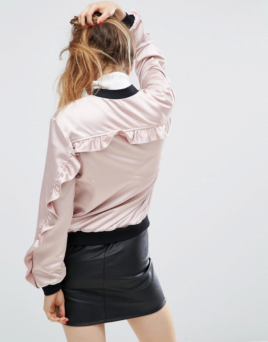 Satin Ruffle Bomber Blush - collar: round collar/collarless; style: bomber; predominant colour: blush; secondary colour: black; occasions: casual, creative work; length: standard; fit: straight cut (boxy); fibres: polyester/polyamide - 100%; sleeve length: long sleeve; sleeve style: standard; texture group: silky - light; collar break: high; pattern type: fabric; pattern: colourblock; season: a/w 2016; wardrobe: highlight