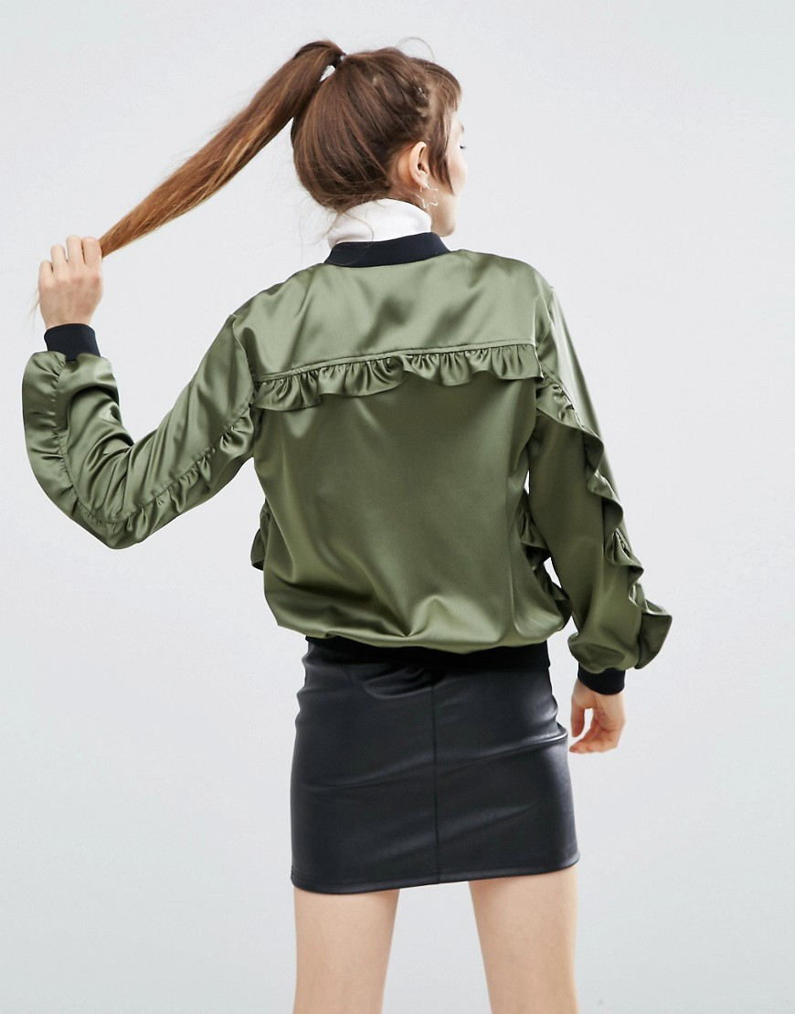 Satin Ruffle Bomber Khaki - pattern: plain; collar: round collar/collarless; style: bomber; predominant colour: khaki; secondary colour: black; occasions: casual, creative work; length: standard; fit: straight cut (boxy); fibres: polyester/polyamide - 100%; sleeve length: long sleeve; sleeve style: standard; texture group: silky - light; collar break: high; pattern type: fabric; wardrobe: basic; season: a/w 2016; trends: military