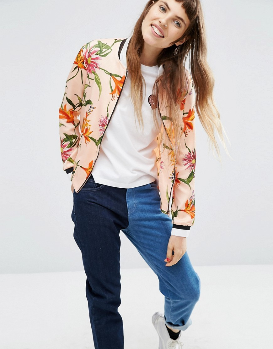 Premium Satin Bomber In Floral Print Multi - collar: round collar/collarless; fit: slim fit; style: bomber; predominant colour: blush; secondary colour: bright orange; occasions: casual; length: standard; fibres: polyester/polyamide - 100%; sleeve length: long sleeve; sleeve style: standard; texture group: structured shiny - satin/tafetta/silk etc.; collar break: high; pattern type: fabric; pattern: florals; multicoloured: multicoloured; season: a/w 2016; wardrobe: highlight