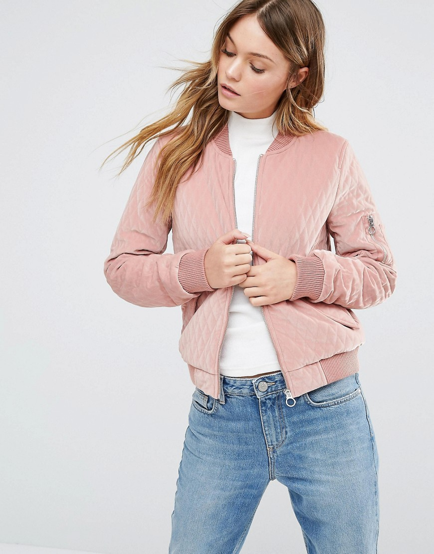 Quilted Velvet Bomber Pink - pattern: plain; collar: round collar/collarless; fit: slim fit; style: bomber; predominant colour: blush; occasions: casual; length: standard; fibres: polyester/polyamide - 100%; sleeve length: long sleeve; sleeve style: standard; collar break: high; pattern type: fabric; texture group: velvet/fabrics with pile; season: a/w 2016