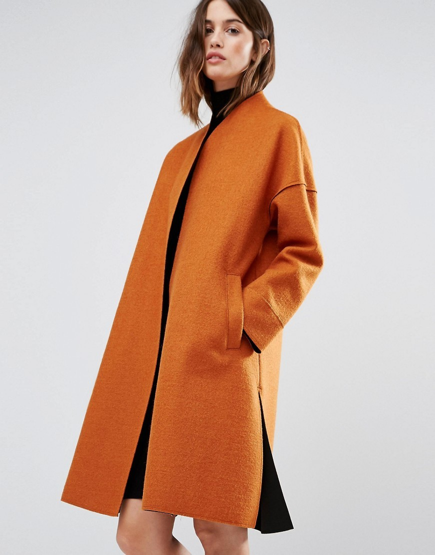 Bonded Contrast Coat Orange - pattern: plain; collar: round collar/collarless; fit: loose; style: single breasted; length: on the knee; predominant colour: bright orange; occasions: casual; fibres: wool - mix; sleeve length: long sleeve; sleeve style: standard; collar break: high; pattern type: fabric; texture group: woven bulky/heavy; season: a/w 2016; wardrobe: highlight