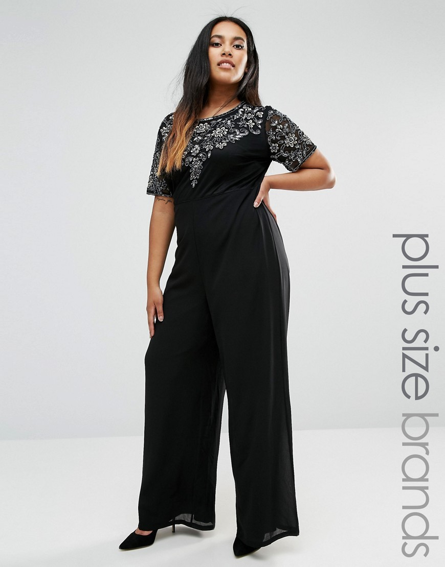 Plus Jumpsuit With Floral Embellishment Black - length: standard; neckline: round neck; fit: tailored/fitted; pattern: plain; predominant colour: black; occasions: evening, occasion; fibres: polyester/polyamide - 100%; bust detail: contrast pattern/fabric/detail at bust; back detail: embellishment at back; sleeve length: short sleeve; sleeve style: standard; texture group: sheer fabrics/chiffon/organza etc.; style: jumpsuit; pattern type: fabric; embellishment: lace; season: a/w 2016; wardrobe: event