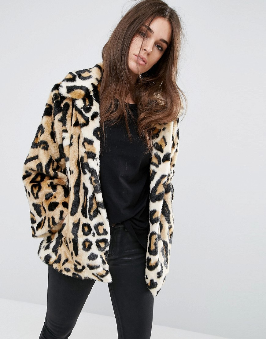 Swing Coat In Leopard Faux Fur Multi - length: below the bottom; fit: loose; collar: standard lapel/rever collar; predominant colour: camel; secondary colour: black; occasions: casual; fibres: acrylic - mix; style: fur coat; sleeve length: long sleeve; sleeve style: standard; texture group: fur; collar break: high; pattern type: fabric; pattern: animal print; multicoloured: multicoloured; season: a/w 2016