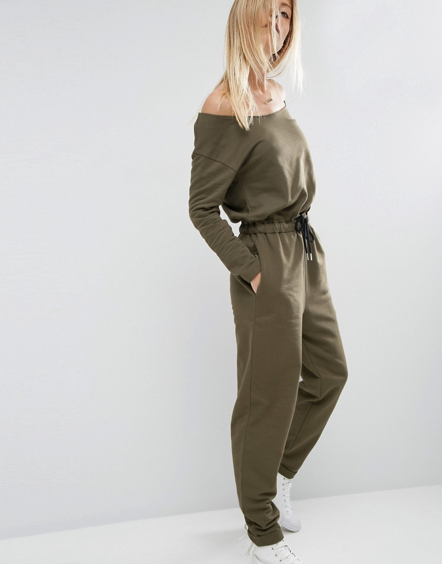 Jumpsuit With Off Shoulder In Sweat Khaki - length: standard; neckline: off the shoulder; fit: fitted at waist; pattern: plain; sleeve style: sleeveless; predominant colour: khaki; occasions: casual; fibres: polyester/polyamide - stretch; sleeve length: long sleeve; style: jumpsuit; pattern type: fabric; texture group: jersey - stretchy/drapey; season: a/w 2016; wardrobe: highlight