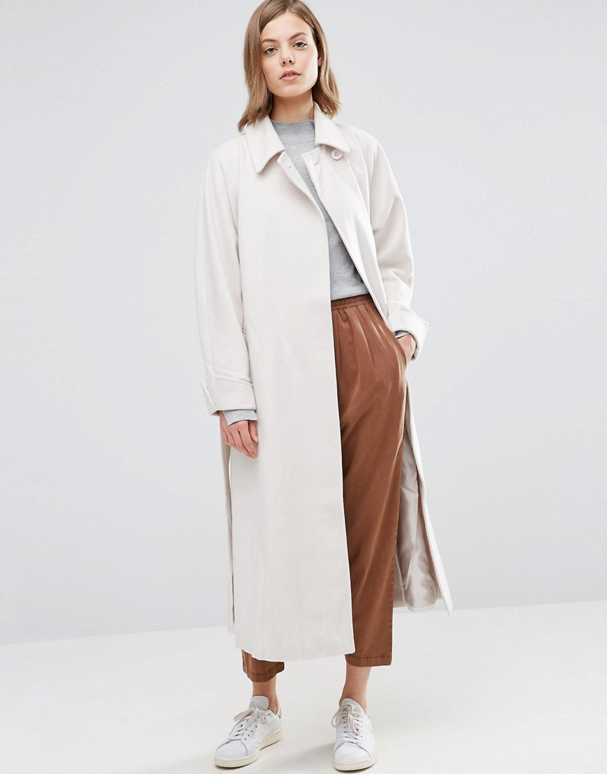 Coat In Midi Swing Trapeze With Belt Cream - pattern: plain; fit: loose; style: single breasted; length: calf length; predominant colour: ivory/cream; occasions: casual; fibres: polyester/polyamide - stretch; collar: shirt collar/peter pan/zip with opening; sleeve length: long sleeve; sleeve style: standard; collar break: high; pattern type: fabric; texture group: woven light midweight; wardrobe: basic; season: a/w 2016