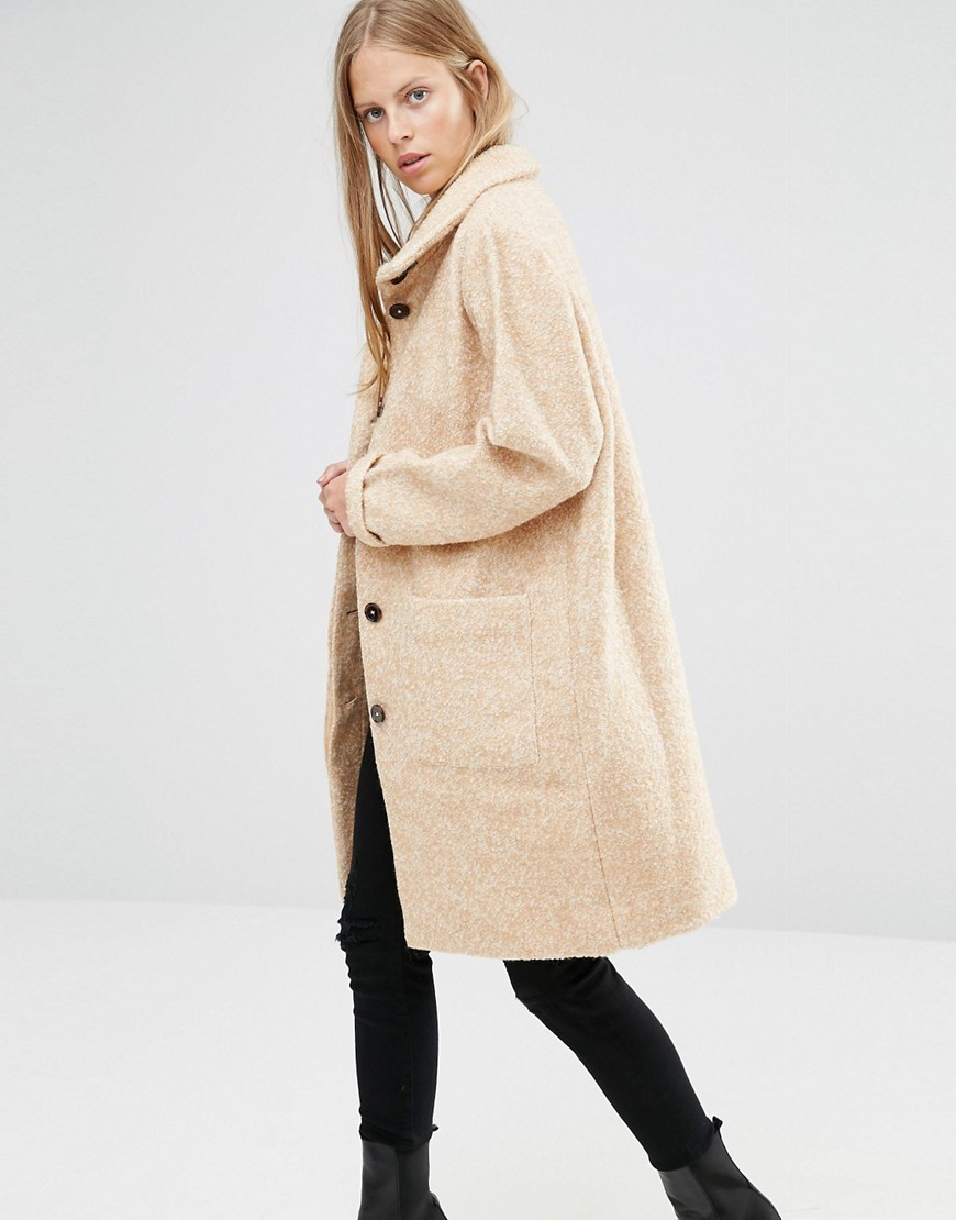 Funnel Neck Long Coat In Camel Camel/Vanilla Ice - pattern: plain; collar: funnel; fit: loose; style: single breasted; length: on the knee; predominant colour: ivory/cream; occasions: casual; fibres: polyester/polyamide - mix; sleeve length: long sleeve; sleeve style: standard; collar break: high; pattern type: fabric; texture group: woven bulky/heavy; wardrobe: basic; season: a/w 2016