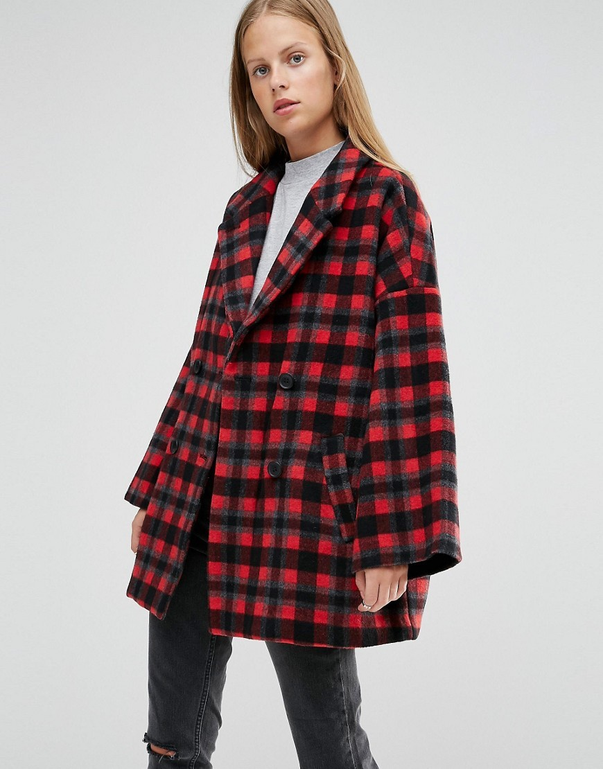 Double Breasted Coat In Red Check Pompeian Red Check - pattern: checked/gingham; length: below the bottom; fit: loose; style: double breasted; collar: standard lapel/rever collar; predominant colour: true red; secondary colour: black; occasions: casual; fibres: wool - mix; sleeve length: long sleeve; sleeve style: standard; collar break: medium; pattern type: fabric; texture group: woven bulky/heavy; multicoloured: multicoloured; season: a/w 2016; wardrobe: highlight