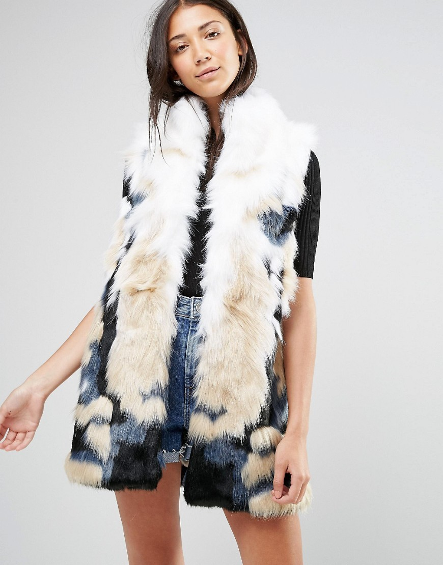 Faux Fur Ombre Gilet White/Petrol - sleeve style: sleeveless; style: gilet; collar: round collar/collarless; fit: loose; length: below the bottom; predominant colour: white; secondary colour: white; occasions: casual; fibres: acrylic - mix; sleeve length: sleeveless; texture group: fur; collar break: low/open; pattern type: fabric; pattern: patterned/print; season: a/w 2016; wardrobe: highlight