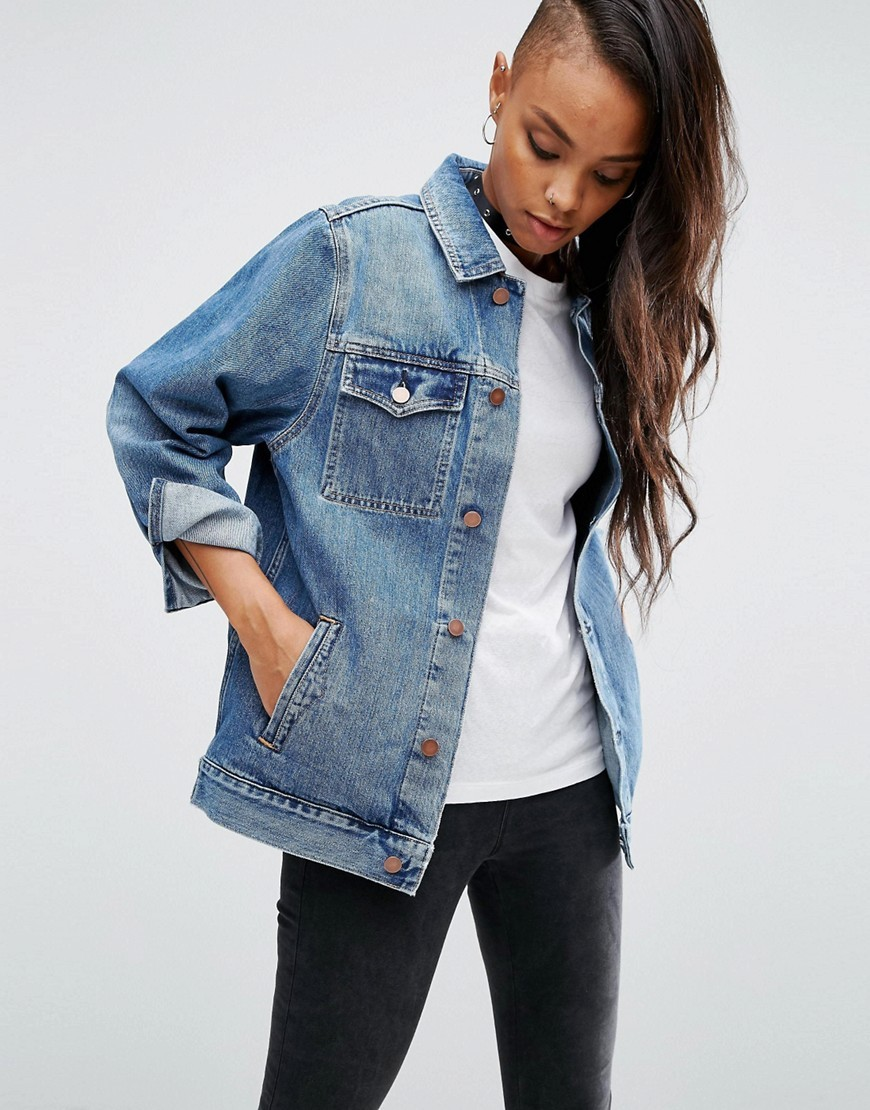 Denim Girlfriend Jacket In Astrid Mid Stonewash Blue Midwash Blue - pattern: plain; style: denim; fit: slim fit; predominant colour: denim; occasions: casual, creative work; length: standard; fibres: cotton - mix; collar: shirt collar/peter pan/zip with opening; sleeve length: long sleeve; sleeve style: standard; texture group: denim; collar break: high; pattern type: fabric; wardrobe: basic; season: a/w 2016