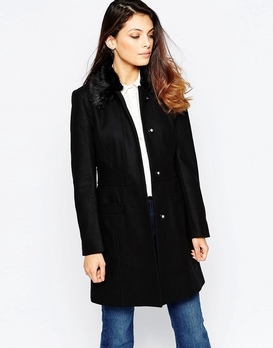 Platform Faux Fur Collar Felt Coat In Black Black - pattern: plain; style: single breasted; collar: high neck; fit: slim fit; length: mid thigh; predominant colour: black; occasions: casual; fibres: wool - mix; sleeve length: long sleeve; sleeve style: standard; collar break: high; pattern type: fabric; texture group: woven bulky/heavy; season: a/w 2016