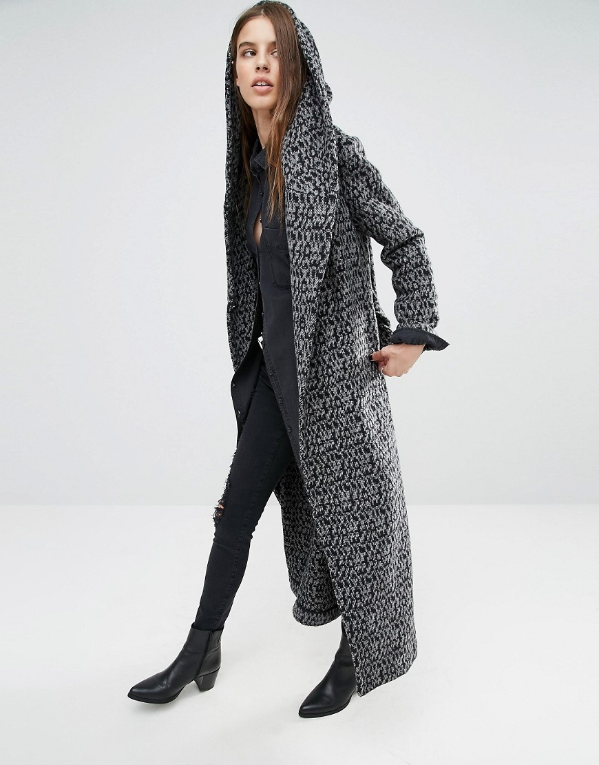 Longline Drapey Textured Coat In Intricate Pattern Charcoal/Black - pattern: plain; fit: loose; style: single breasted; collar: standard lapel/rever collar; predominant colour: charcoal; occasions: casual; length: floor length; fibres: polyester/polyamide - 100%; sleeve length: long sleeve; sleeve style: standard; collar break: medium; pattern type: fabric; texture group: other - bulky/heavy; wardrobe: basic; season: a/w 2016