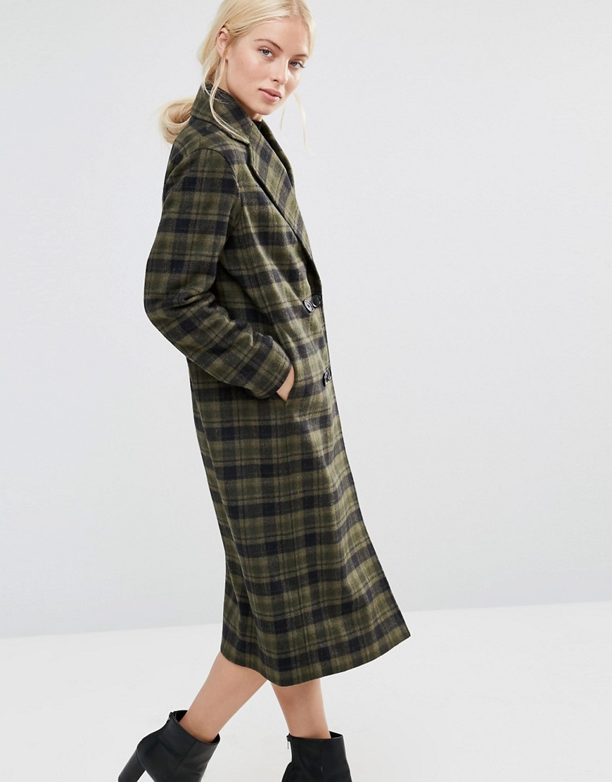 Double Breasted Coat In Khaki Green And Black Check Green/ Black - pattern: checked/gingham; fit: loose; style: single breasted; collar: standard lapel/rever collar; length: calf length; predominant colour: khaki; secondary colour: charcoal; occasions: casual; fibres: wool - mix; sleeve length: long sleeve; sleeve style: standard; collar break: medium; pattern type: fabric; texture group: woven bulky/heavy; multicoloured: multicoloured; season: a/w 2016; wardrobe: highlight