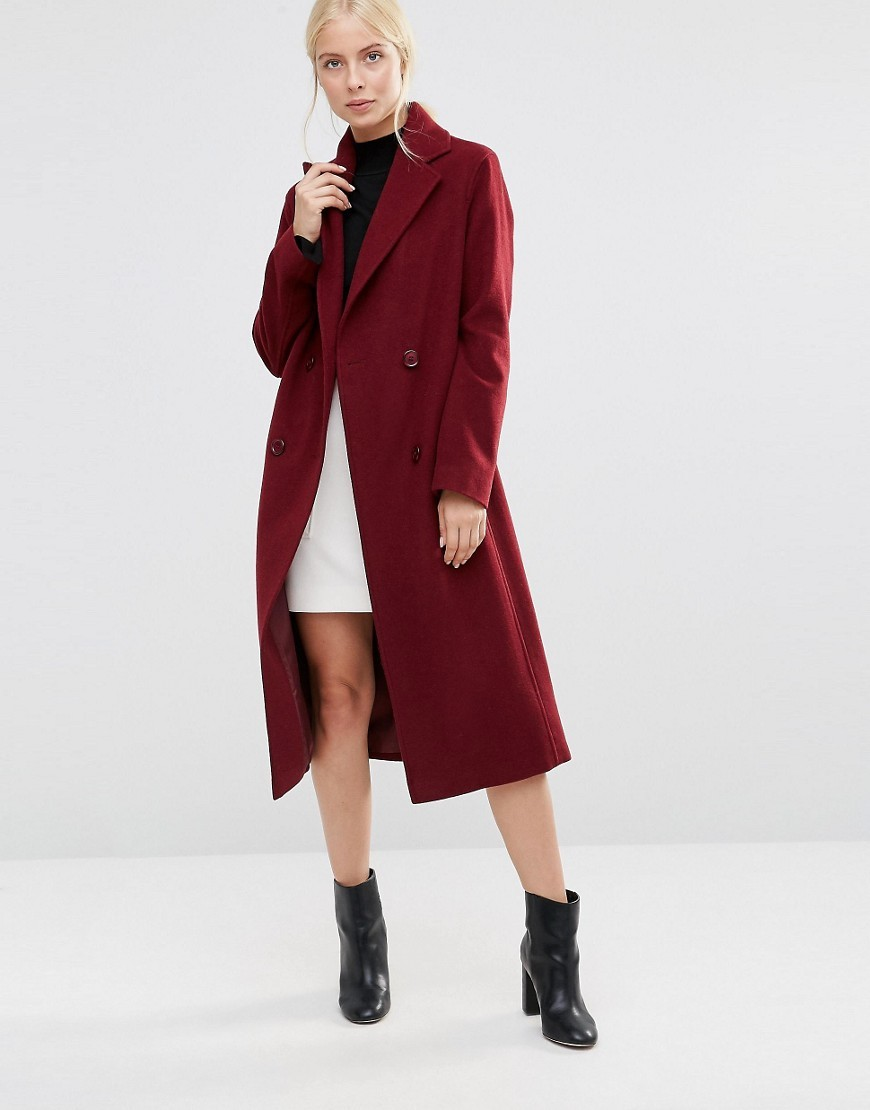 Double Breasted Coat In Burgundy Burgundy - pattern: plain; style: double breasted; collar: standard lapel/rever collar; predominant colour: burgundy; occasions: casual; fit: tailored/fitted; fibres: wool - mix; length: below the knee; sleeve length: long sleeve; sleeve style: standard; collar break: medium; pattern type: fabric; texture group: woven bulky/heavy; season: a/w 2016