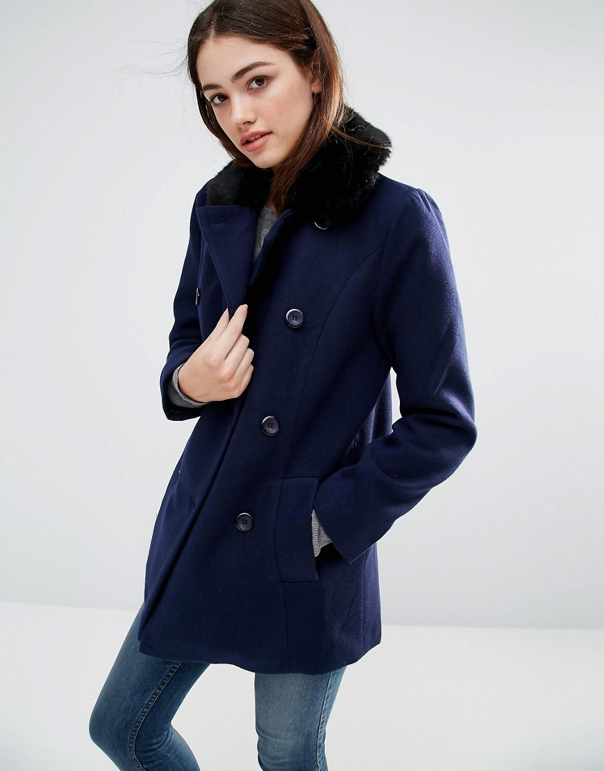 Becky Coat Navy/Black - pattern: plain; style: single breasted; length: mid thigh; predominant colour: navy; occasions: casual; fit: tailored/fitted; fibres: polyester/polyamide - mix; sleeve length: long sleeve; sleeve style: standard; collar: fur; collar break: high; pattern type: fabric; texture group: woven bulky/heavy; wardrobe: basic; season: a/w 2016