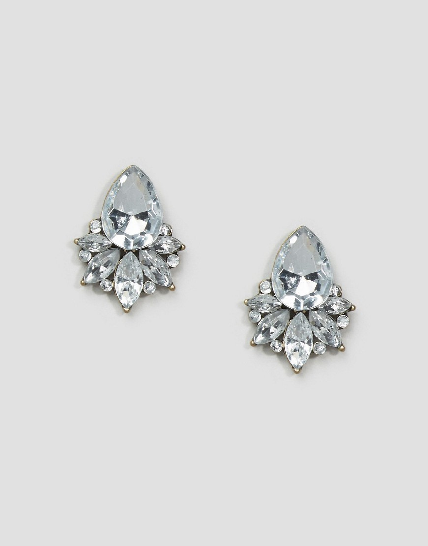 Jewel Stud Earrings Crystal - predominant colour: silver; occasions: evening, occasion; style: stud; length: short; size: standard; material: chain/metal; fastening: pierced; finish: metallic; embellishment: crystals/glass; season: a/w 2016; wardrobe: event