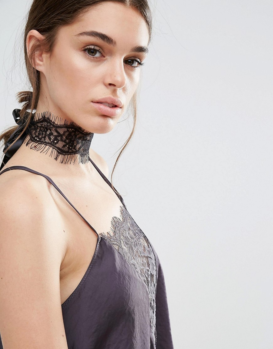 Lace & Tie Up Choker Black - predominant colour: black; occasions: evening; style: choker/collar/torque; length: choker; size: large/oversized; material: fabric/cotton; finish: plain; embellishment: lace; season: a/w 2016; wardrobe: event