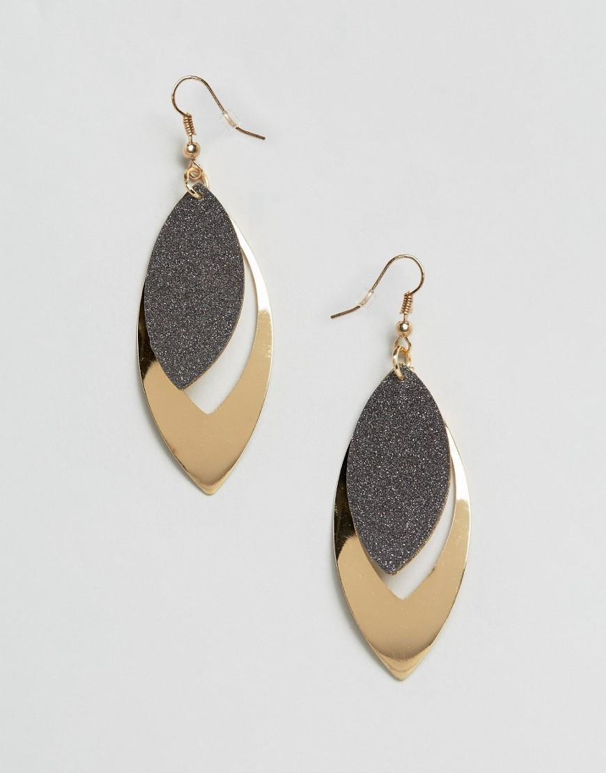 Glitter Stone Earrings Gold - predominant colour: gold; occasions: evening, occasion; style: drop; length: mid; size: standard; material: chain/metal; fastening: pierced; finish: plain; season: a/w 2016; wardrobe: event