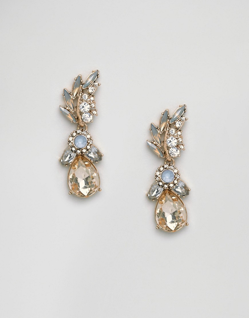 Malewen Drop Earrings Grey - predominant colour: gold; occasions: evening, occasion; style: drop; length: mid; size: standard; material: chain/metal; fastening: pierced; finish: metallic; embellishment: jewels/stone; season: a/w 2016
