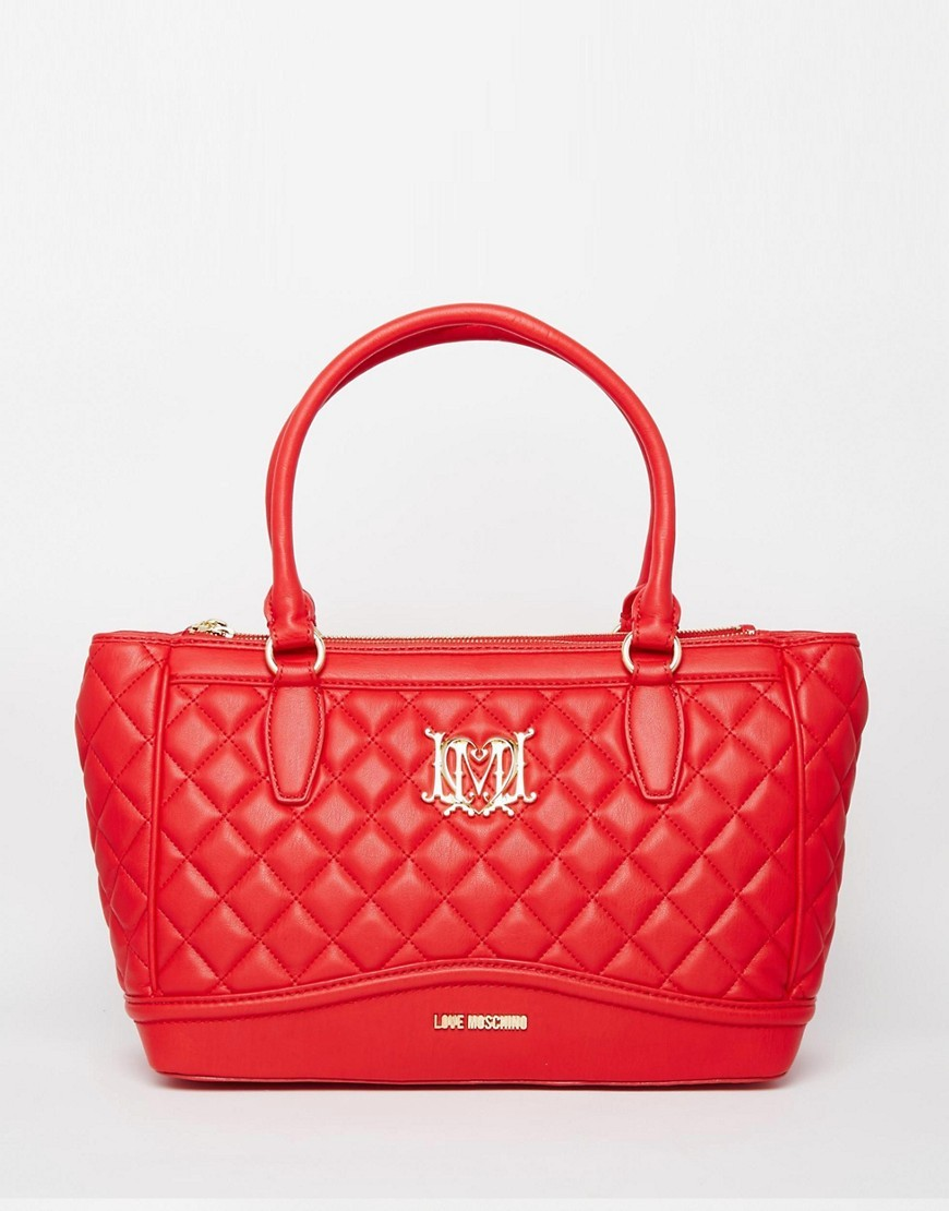 Quilted Tote Bag Red - predominant colour: true red; occasions: casual, creative work; type of pattern: standard; style: tote; length: handle; size: standard; material: faux leather; embellishment: quilted; pattern: plain; finish: plain; season: a/w 2016; wardrobe: highlight
