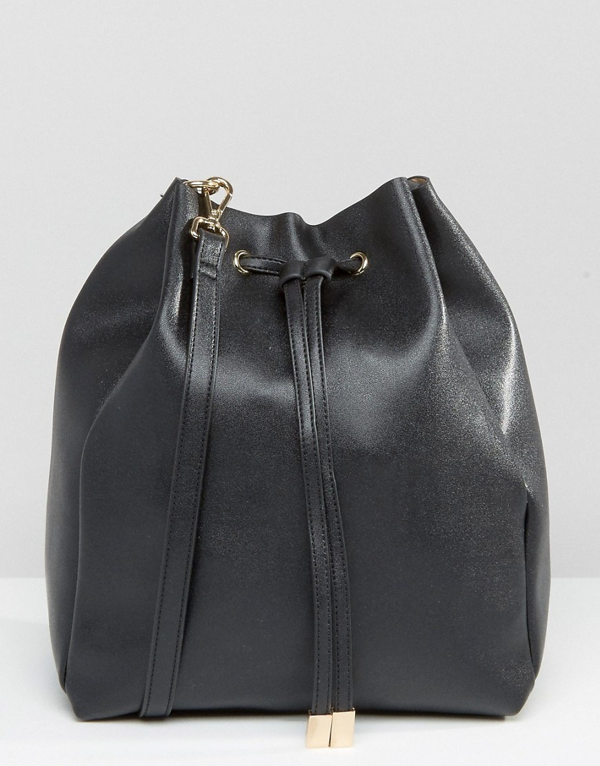 Minimal Drawstring Shoulder Bag Black - predominant colour: black; occasions: casual, creative work; type of pattern: standard; style: onion bag; length: shoulder (tucks under arm); size: standard; material: leather; pattern: plain; finish: plain; wardrobe: investment; season: a/w 2016