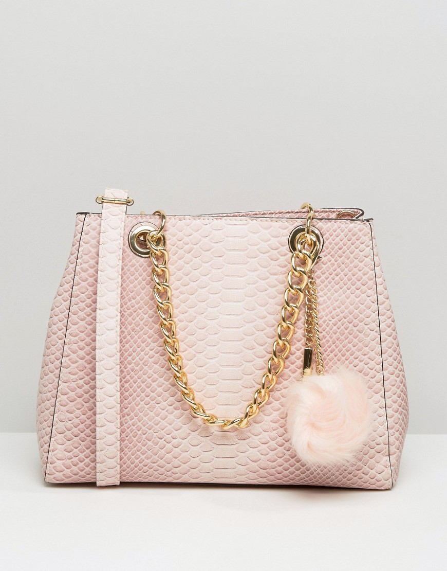 Minimal Shoulder Bag With Faux Fur Pom Blush - predominant colour: blush; occasions: casual, creative work; type of pattern: standard; style: tote; length: handle; size: standard; material: faux leather; pattern: plain; finish: plain; embellishment: pompom; wardrobe: investment; season: a/w 2016