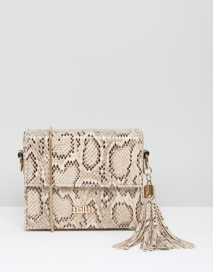 Faux Snake Box Shoulder Bag With Tassel Multi - predominant colour: ivory/cream; secondary colour: stone; occasions: casual, creative work; type of pattern: light; style: shoulder; length: shoulder (tucks under arm); size: small; material: faux leather; embellishment: tassels; pattern: animal print; finish: plain; season: a/w 2016; wardrobe: highlight