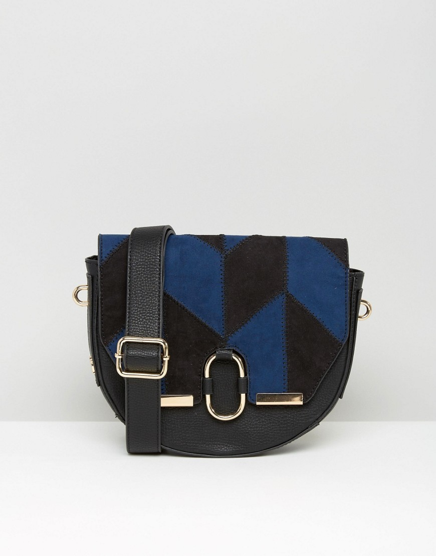 Suedette Saddle Bag In Patchwork Multi - predominant colour: royal blue; secondary colour: black; occasions: casual, creative work; type of pattern: light; style: saddle; length: shoulder (tucks under arm); size: small; material: leather; finish: plain; pattern: colourblock; season: a/w 2016; wardrobe: highlight
