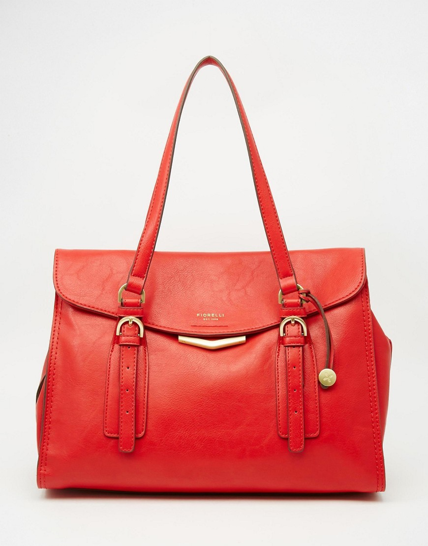 Shoulder Tote Bag Red - predominant colour: true red; occasions: casual, work, creative work; type of pattern: standard; style: tote; length: shoulder (tucks under arm); size: standard; material: leather; pattern: plain; finish: plain; season: a/w 2016; wardrobe: highlight
