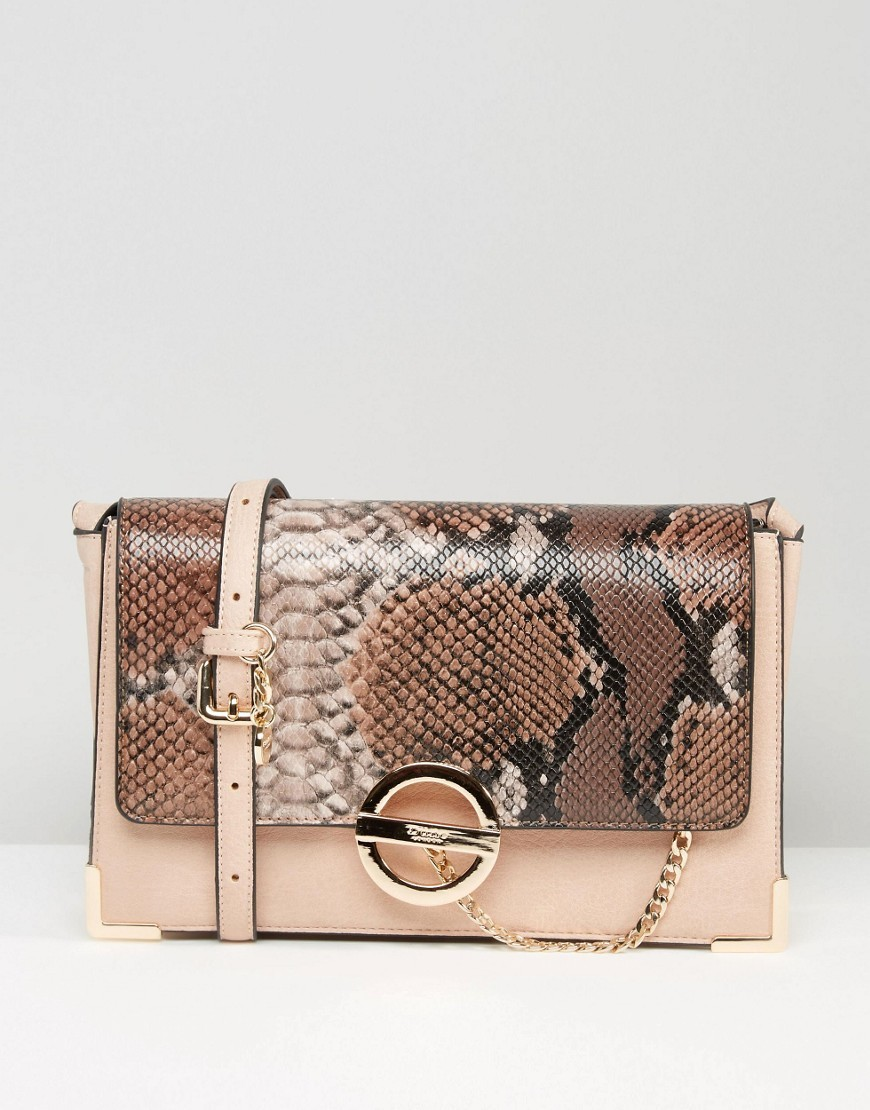 Blush & Faux Snake Cross Body Bag Blush/Snake - predominant colour: camel; secondary colour: nude; occasions: casual, creative work; type of pattern: light; style: shoulder; length: shoulder (tucks under arm); size: small; material: animal skin; pattern: animal print; finish: plain; season: a/w 2016; wardrobe: highlight