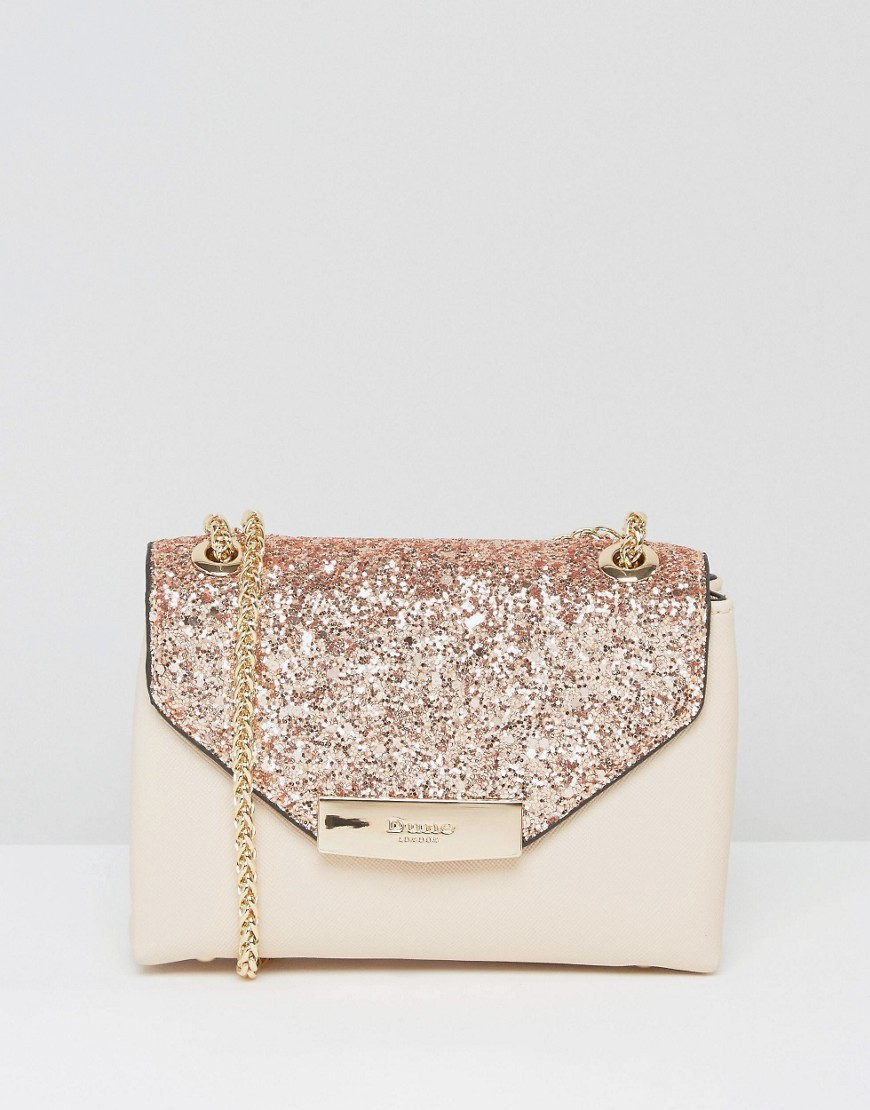 Micro Glitter Cross Body Bag Nude - secondary colour: ivory/cream; predominant colour: nude; occasions: evening, occasion; type of pattern: standard; style: shoulder; length: shoulder (tucks under arm); size: small; material: leather; embellishment: glitter; finish: plain; pattern: colourblock; season: a/w 2016; wardrobe: event