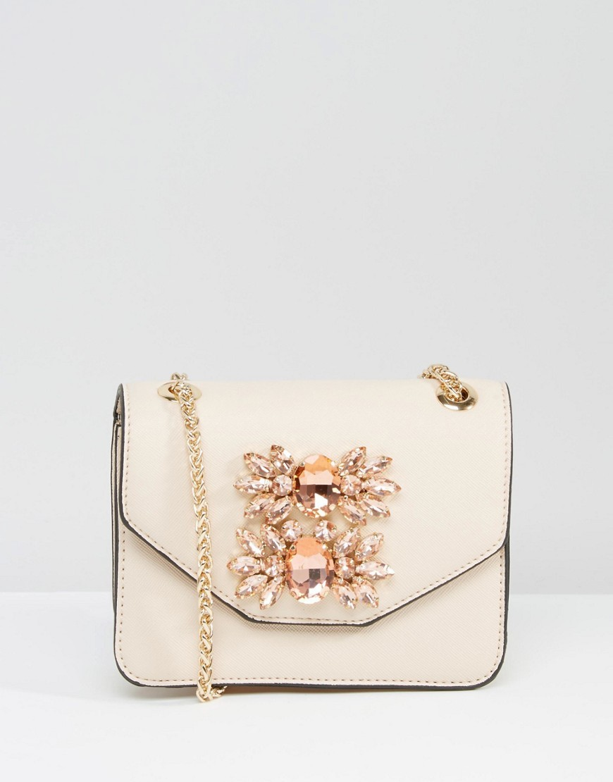 Envelope Micro Bag With Embellishment Nude - predominant colour: nude; secondary colour: gold; occasions: evening; type of pattern: standard; style: clutch; length: hand carry; size: small; material: leather; pattern: plain; finish: plain; embellishment: jewels/stone; season: a/w 2016; wardrobe: event