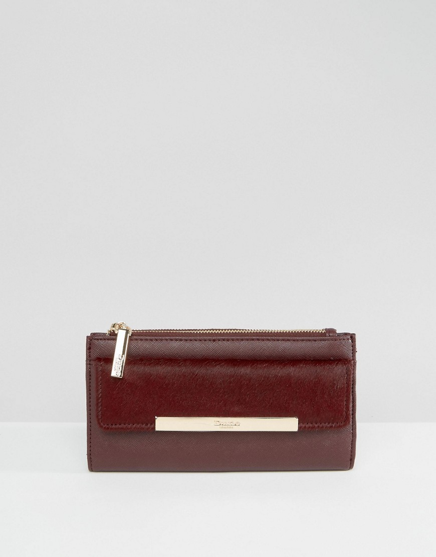 Simple Purse With Metal Bar Detail Berry Pu & Leather - predominant colour: burgundy; occasions: evening; type of pattern: standard; style: clutch; length: hand carry; size: small; material: leather; pattern: plain; finish: plain; season: a/w 2016; wardrobe: event
