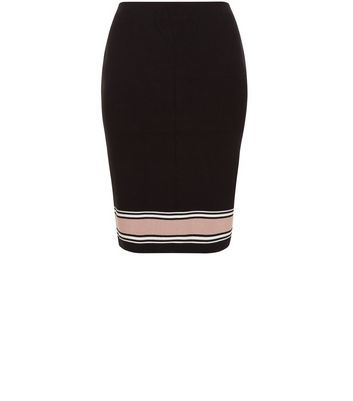 Curves Black Stripe Trim Midi Skirt - style: pencil; fit: body skimming; hip detail: fitted at hip; waist: mid/regular rise; secondary colour: pink; predominant colour: black; occasions: work; length: on the knee; fibres: viscose/rayon - stretch; texture group: jersey - clingy; pattern type: fabric; pattern: horizontal stripes (bottom); multicoloured: multicoloured; season: a/w 2016