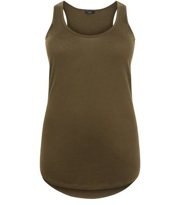 Curves Khaki Round Neck Vest - neckline: round neck; pattern: plain; sleeve style: sleeveless; style: vest top; predominant colour: khaki; occasions: casual; length: standard; fibres: cotton - mix; fit: body skimming; sleeve length: sleeveless; pattern type: fabric; texture group: jersey - stretchy/drapey; wardrobe: basic; season: a/w 2016
