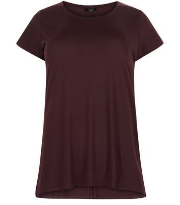 Curves Burgundy T Shirt - pattern: plain; style: t-shirt; predominant colour: burgundy; occasions: casual, creative work; length: standard; neckline: scoop; fibres: cotton - mix; fit: loose; sleeve length: short sleeve; sleeve style: standard; pattern type: fabric; pattern size: standard; texture group: jersey - stretchy/drapey; season: a/w 2016