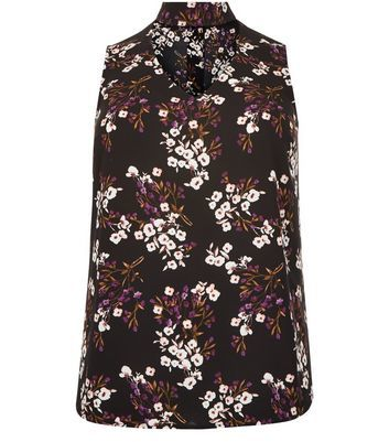 Black Floral Print Cut Out Shell Top - sleeve style: sleeveless; secondary colour: white; predominant colour: black; occasions: casual; length: standard; style: top; neckline: peep hole neckline; fibres: polyester/polyamide - stretch; fit: body skimming; sleeve length: sleeveless; pattern type: fabric; pattern: florals; texture group: jersey - stretchy/drapey; multicoloured: multicoloured; season: a/w 2016; wardrobe: highlight