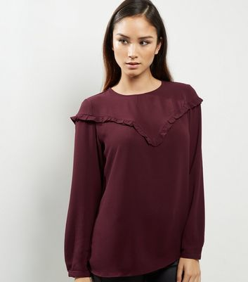 Dark Purple Frill Trim Long Sleeve Top - pattern: plain; style: blouse; predominant colour: aubergine; occasions: casual; length: standard; fibres: polyester/polyamide - stretch; fit: body skimming; neckline: crew; sleeve length: long sleeve; sleeve style: standard; texture group: sheer fabrics/chiffon/organza etc.; bust detail: bulky details at bust; pattern type: fabric; multicoloured: multicoloured; season: a/w 2016; wardrobe: highlight