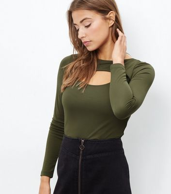 Khaki Cut Out Long Sleeve Top - pattern: plain; predominant colour: khaki; occasions: casual; length: standard; style: top; neckline: peep hole neckline; fibres: polyester/polyamide - 100%; fit: tight; sleeve length: long sleeve; sleeve style: standard; texture group: jersey - clingy; pattern type: fabric; season: a/w 2016