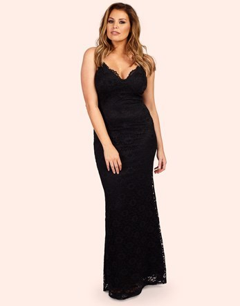 Lace Maxi Dress - neckline: low v-neck; sleeve style: spaghetti straps; pattern: plain; style: maxi dress; predominant colour: black; occasions: evening; length: floor length; fit: body skimming; sleeve length: sleeveless; texture group: lace; pattern type: fabric; fibres: nylon - stretch; season: a/w 2016; wardrobe: event