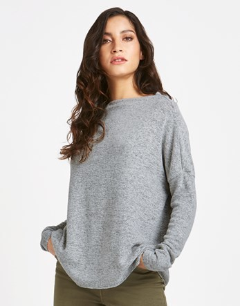 Pullover Knitwear - neckline: slash/boat neckline; pattern: plain; style: standard; predominant colour: light grey; occasions: casual; length: standard; fibres: viscose/rayon - stretch; fit: standard fit; sleeve length: long sleeve; sleeve style: standard; texture group: knits/crochet; pattern type: knitted - fine stitch; wardrobe: basic; season: a/w 2016