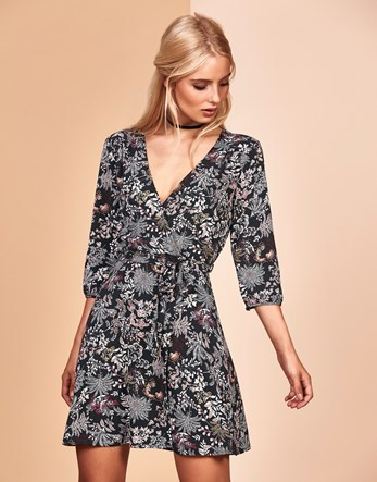 Vintage Woven Dress - style: faux wrap/wrap; length: mid thigh; neckline: v-neck; predominant colour: charcoal; secondary colour: light grey; occasions: evening; fit: body skimming; fibres: polyester/polyamide - stretch; sleeve length: 3/4 length; sleeve style: standard; pattern type: fabric; pattern: patterned/print; texture group: jersey - stretchy/drapey; multicoloured: multicoloured; season: a/w 2016; wardrobe: event