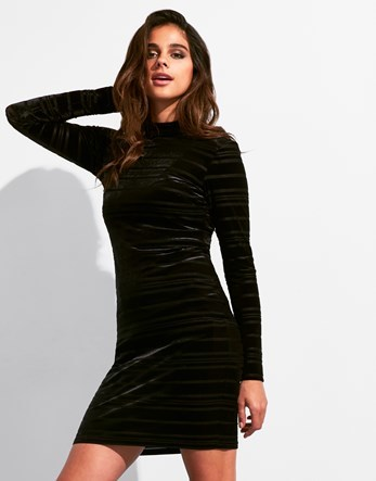 Long Sleeve Velvet Ribbed Bodycon Dress - length: mid thigh; fit: tight; pattern: plain; neckline: high neck; style: bodycon; predominant colour: black; occasions: evening; fibres: polyester/polyamide - stretch; sleeve length: long sleeve; sleeve style: standard; pattern type: fabric; texture group: velvet/fabrics with pile; season: a/w 2016; wardrobe: event