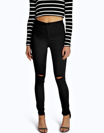 High Waisted Skinny Jeans - style: skinny leg; pattern: plain; waist: high rise; pocket detail: traditional 5 pocket; predominant colour: black; occasions: casual; length: ankle length; fibres: cotton - stretch; texture group: denim; pattern type: fabric; jeans detail: rips; wardrobe: basic; season: a/w 2016