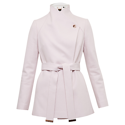 Elika Contrast Lapel Short Wrap Coat - pattern: plain; length: below the bottom; collar: funnel; style: wrap around; predominant colour: blush; occasions: casual, work, creative work; fit: tailored/fitted; fibres: wool - mix; waist detail: belted waist/tie at waist/drawstring; sleeve length: long sleeve; sleeve style: standard; collar break: high; pattern type: fabric; pattern size: standard; texture group: woven bulky/heavy; wardrobe: basic; season: a/w 2016